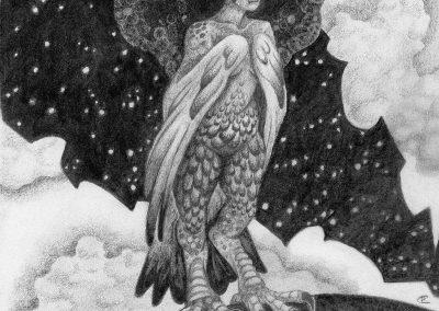 Drawtober 2018, Day 18 - Harpy's Nest